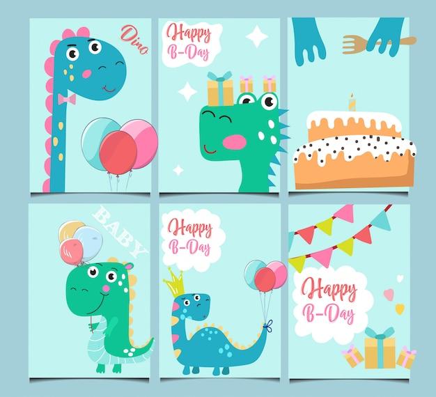 Set van schattige verjaardagskaarten.