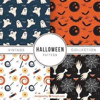 Set van schattige vintage halloween patronen