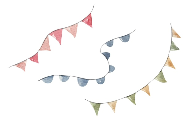 Set van schattige vlaggen voor de vakantie, handgetekende illustratie, print, ontwerp voor kinderen