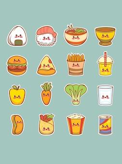 Set van schattige voedsel stripfiguur sticker