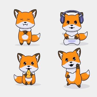 Set van schattige vos karakterontwerp