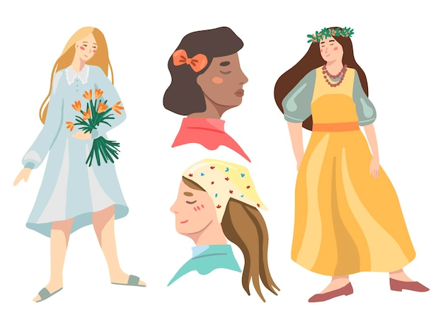 Set van schattige vrouwen. meisjes in jurken en haaraccessoires. ten voeten uit figuren en portretten. vectorillustraties van cottagecore-esthetiek. geïsoleerde cliparts voor decor, stickers, ontwerp, kaart, prints.