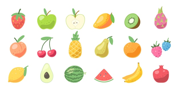 Set van schattige vruchten. natuurlijke vitamines, biologisch tropisch fruit. vector illustratie