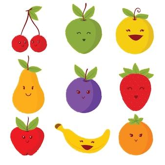 Set van schattige vruchten