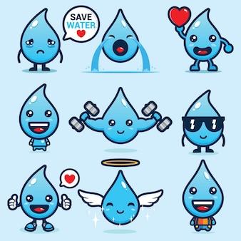 Set van schattige water mascotte vector ontwerpen