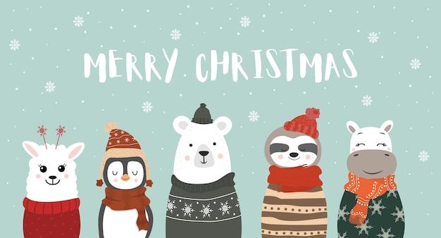 Set van schattige winter lachende dieren met sneeuwvlokken. vrolijk kerstfeest.