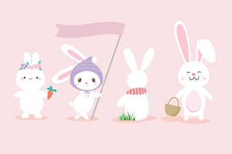Set van schattige witte bunny hand getrokken stijl.