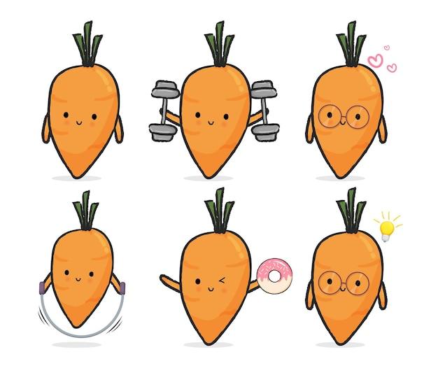 Set van schattige wortel. mascotte cartoon afbeelding premium vector