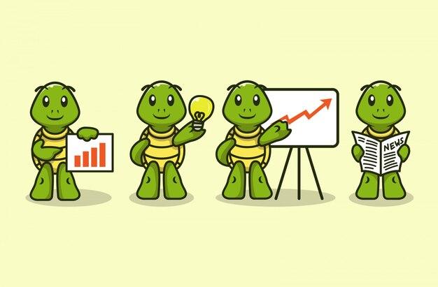 Set van schattige zakelijke thema schildpad mascotte