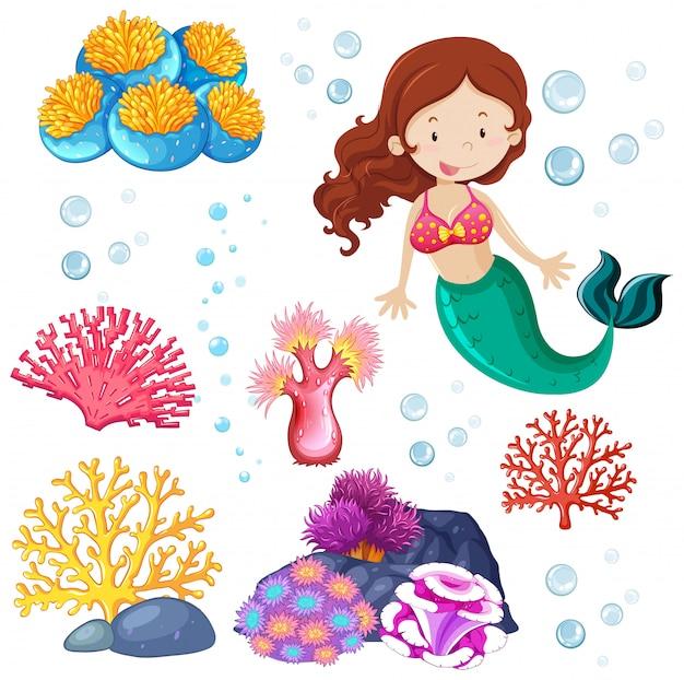 Set van schattige zeemeermin en zee thema