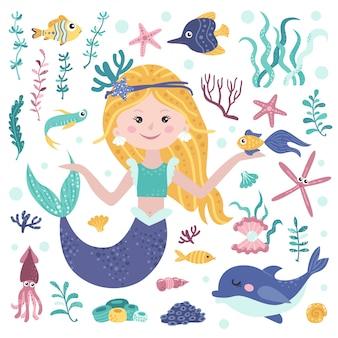 Set van schattige zeemeermin, zeewier en mariene inwoners