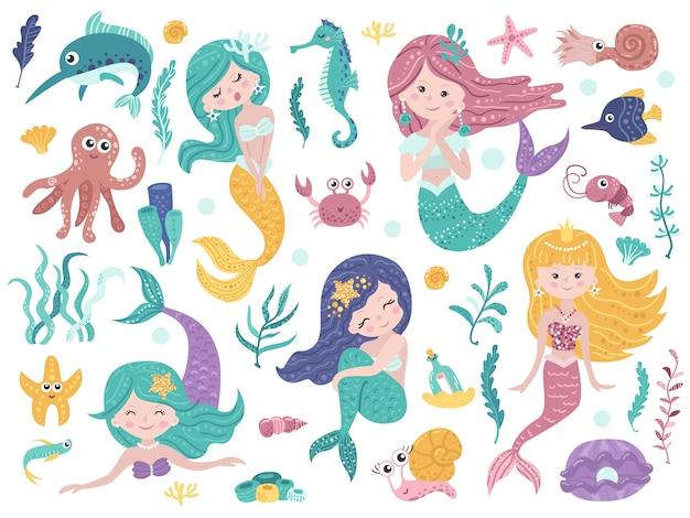 Set van schattige zeemeerminnen en zee-natuur.