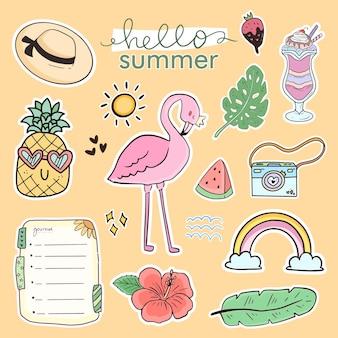 Set van schattige zomersticker-tekeningcollectie met flamingo
