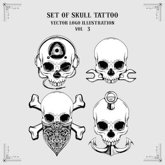 Set van schedel tattoo mascot logo illustratie