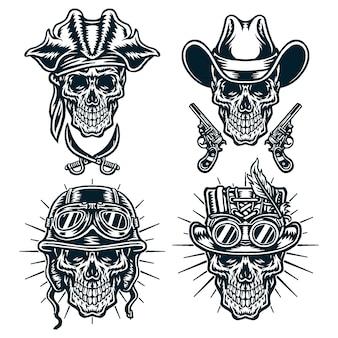 Set van schedels karakter, cowboys, steampunk, helmen en piraten, zwarte lijn versie