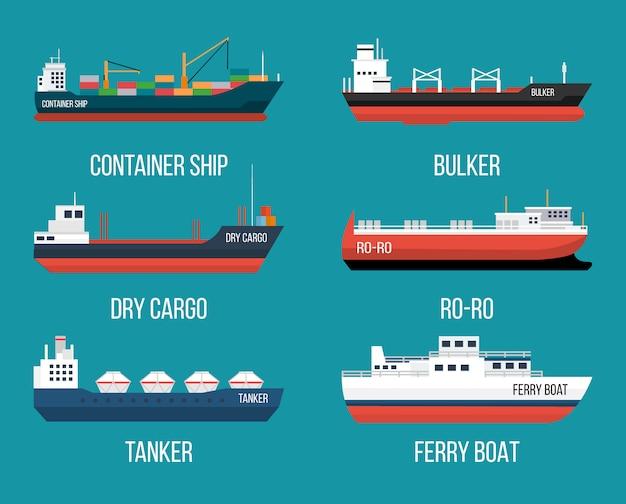 Set van schepen in moderne vlakke stijl. levering van hoge kwaliteit en scheepvaart boten illustratie