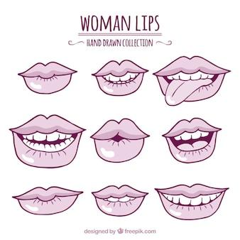 Set van schetsen lippen