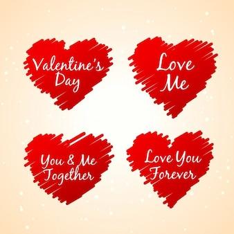 Set van schetsmatige rode harten