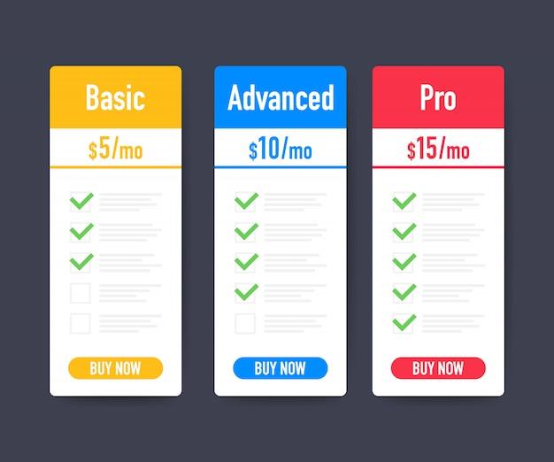 Set van schone prijslijst. drie banners met tarieven. platte web promo-elementen. vector stock illustratie.