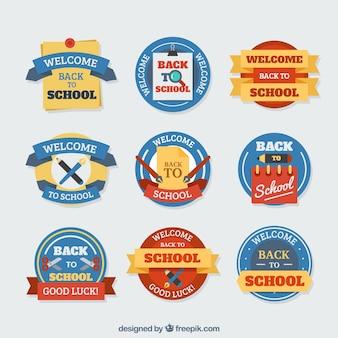 Set van school labels in de kleuren