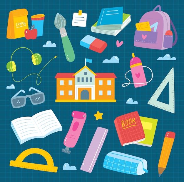Set van schoolbenodigdheden doodle