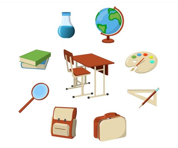 Set van schoolbenodigdheden pictogram en logo. geïsoleerde ontwerpelement. cartoon afbeelding