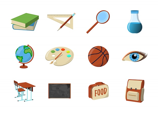 Set van schoolbenodigdheden pictogram. geïsoleerde ontwerpelement. vector cartoon illustratie.