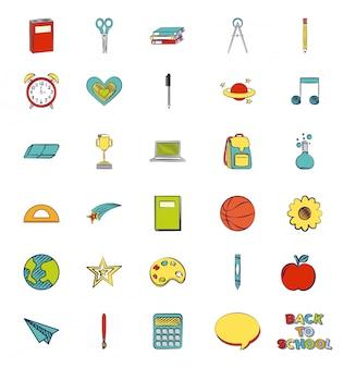Set van schoolbenodigdheden, terug naar school illustratie