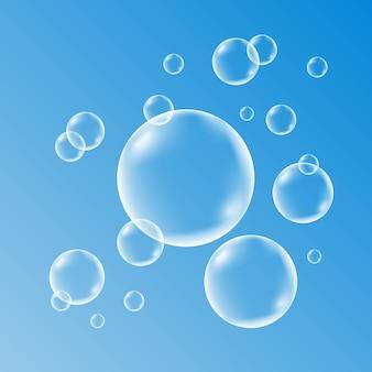 Set van schoon water, zeep, gas of luchtbellen