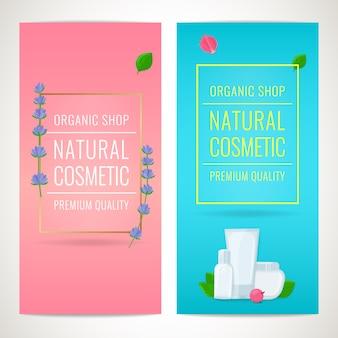 Set van schoonheid banners met lavendel bloemen en cosmetische flessen. natuurlijke cosmetische producten