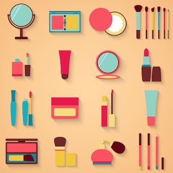 Set van schoonheid en cosmetica pictogrammen