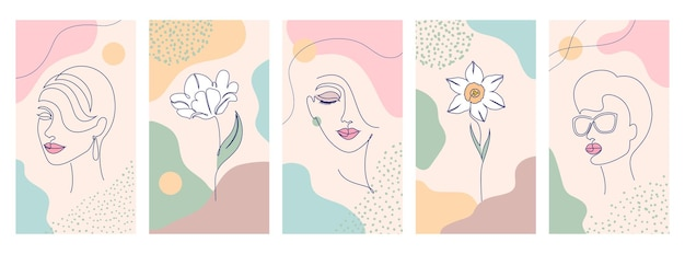 Set van schoonheid en mode-illustraties om af te drukken. vrouw met bloemen en abstracte vormen