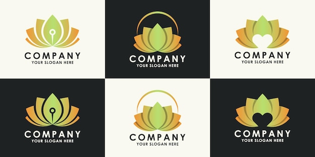 Set van schoonheid en wellness bloem logo ontwerp