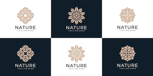 Set van schoonheid natuur bloem logo symbool