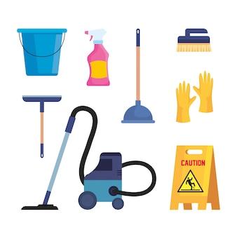 Set van schoonmaakproducten geïsoleerd