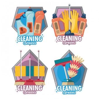 Set van schoonmaakservice en huishouding