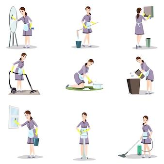 Set van schoonmaakster in verschillende poses en thuissituaties