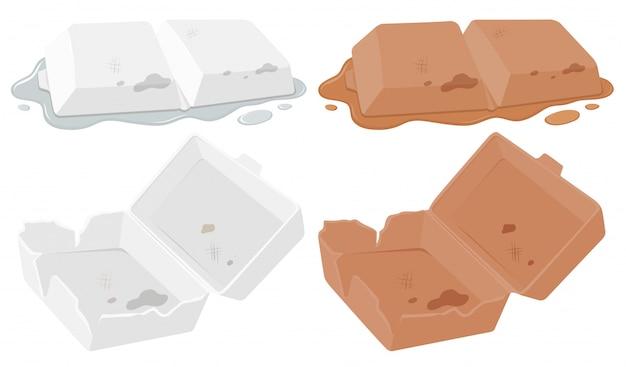 Set van schuim voedsel container