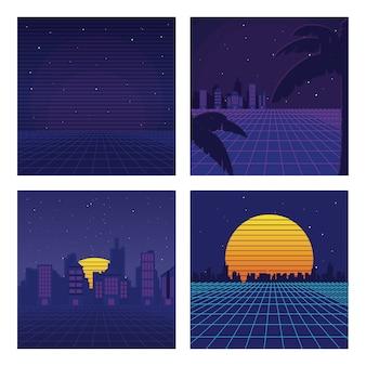 Set van sciencefiction achtergronden