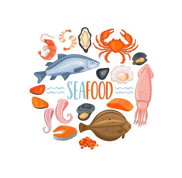 Set van seafod iconen in cartoon stijl, vector.