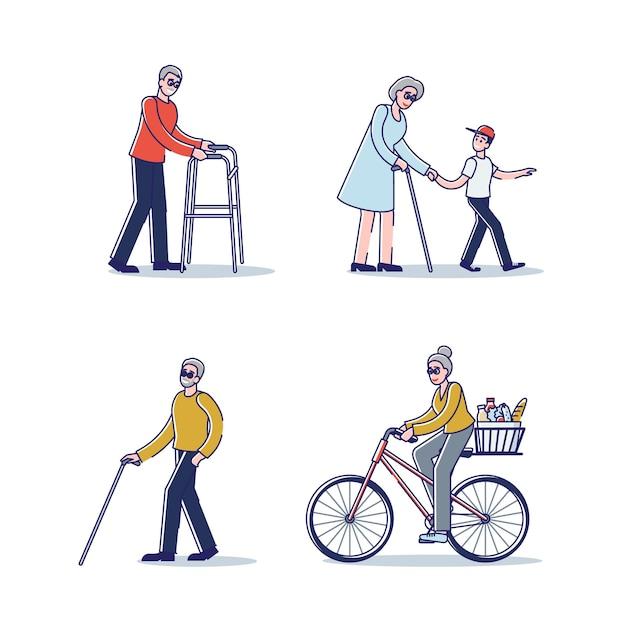 Set van senior mensen staan, wandelen met een stok of fietsen