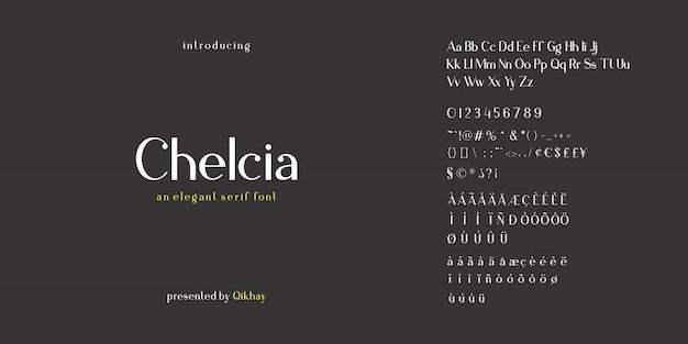 Set van serif alfabet lettertype