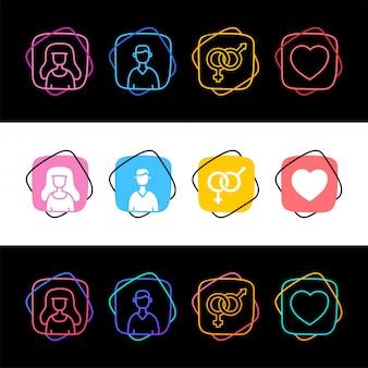 Set van sex avatar man en vrouw eenvoudige kleurrijke pictogram in drie stijlen. mannelijke famale en liefdehart
