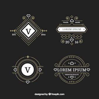 Set van sier logo in vintage stijl