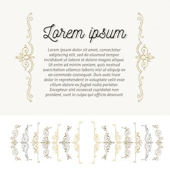 Set van sierlijke beugels. pagina decor ontwerpelementen. illustratie.
