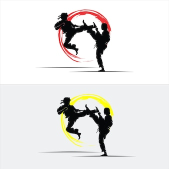 Set van silhouet vechten ontwerp
