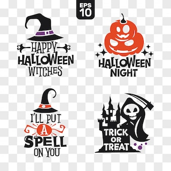 Set van silhouetten halloween pictogrammen met citaat voor feestdecoratie en snijden sticker