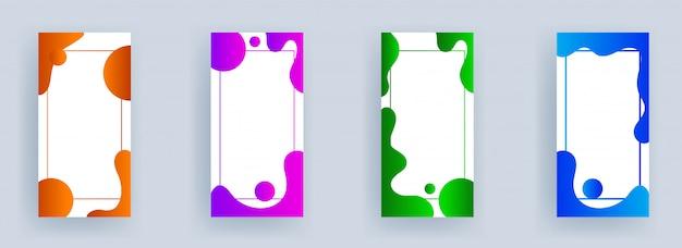 Set van sjabloon banner met ruimte voor uw bericht en verschillende kleuren vloeiende kunst effect op wit.