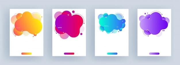Set van sjabloon of folder met kleurrijke abstracte vloeiende kunst effect op wit.