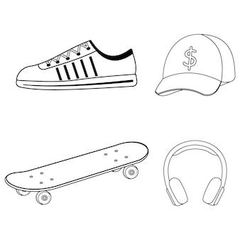 Set van skateboarder cap, skateboard, koptelefoon, sneakers, zwarte omtrek, geïsoleerde illustratie op een witte achtergrond
